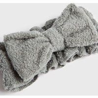 Grey Textured Fluffy Bow Beauty Band New Look