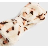 Brown Leopard Print Faux Fur Bow Beauty Band New Look