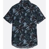Men's Black Tropical Short Sleeve Shirt New Look