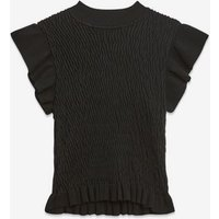 Cameo Rose Black Shirred Knit Frill Trim Top New Look