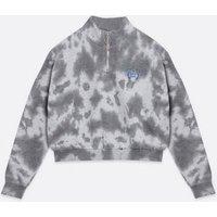 Girls Light Grey Tie Dye Detroit Logo Zip Neck Sweatshirt New Look