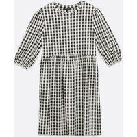 Black Gingham Textured Mini Smock Dress New Look