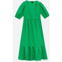 Green Crinkle Smock Midi Dress New Look