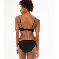 Black Textured Scoop Neck Crop Bikini Top New Look