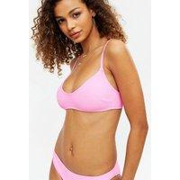 Pink Textured Scoop Neck Crop Bikini Top New Look