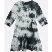 Black Tie Dye Tiered Smock Mini Dress New Look
