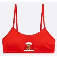 Red Ribbed Cut Out Bikini Top New Look