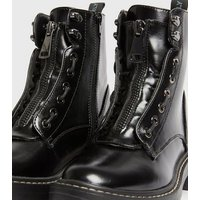 ONLY Black Zip Lace Up Chunky Boots New Look