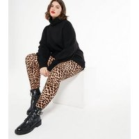 Blue Vanilla Curves Brown Soft Touch Leopard Print Leggings New Look