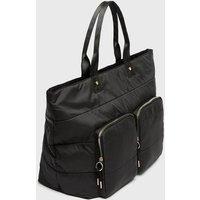 Black Pocket Front Shopper Bag New Look