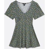Maternity Black Ditsy Floral Peplum Top New Look