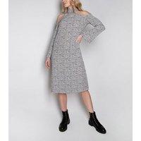 Miss Attire White Spot Cold Shoulder Midi Dress New Look
