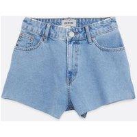 Blue Denim Cut Off Shorts New Look