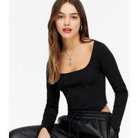 Petite Black Corset Seam Square Neck Top New Look