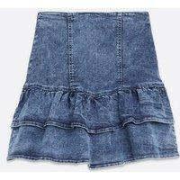 Blue Ruffle Tiered Denim Mini Skirt New Look