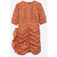 Influence-Rust-Spot-Ruched-Puff-Sleeve-Mini-Dress-New-Look