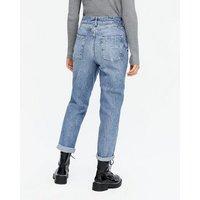 Petite Blue Roll Hem Waist Enhance Tori Mom Jeans New Look