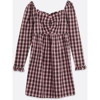 Influence-Black-Check-Square-Neck-Mini-Dress-New-Look