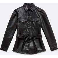 Cameo Rose Black Leather-Look Belted Shacket New Look
