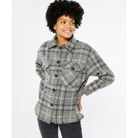 Cameo Rose Light Grey Check Shacket New Look