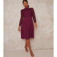 Chi Chi London Dark Purple Lace Pleated Dress New Look