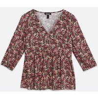 Maternity Pink Floral Peplum Blouse New Look