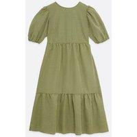Petite Green Gingham Tiered Hem Midi Dress New Look