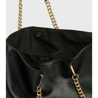 Black Leather-Look Chain Strap Slouch Tote Bag New Look Vegan