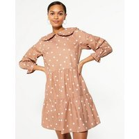 Brown Spot Frill Collar Tiered Smock Dress New Look