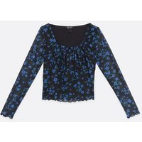 Girls Black Floral Mesh Square Neck Top New Look