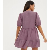 Petite Pink Gingham Puff Sleeve Tiered Smock Dress New Look