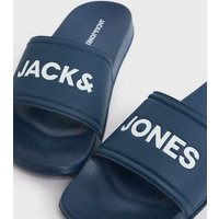 Men's Jack & Jones Navy Logo Sliders New Look