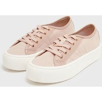 Pale Pink Lace Up Flatform Trainers New Look Vegan