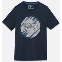 Men's Jack & Jones Navy Circle Logo T-Shirt New Look
