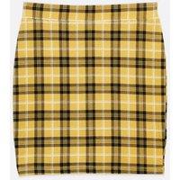 Girls Yellow Check Tube Skirt New Look