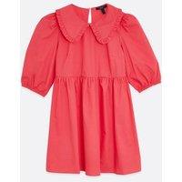 Petite Bright Pink Frill Collar Poplin Smock Dress New Look