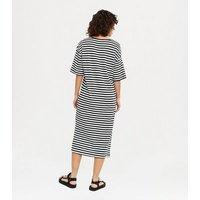 Noisy May Black Stripe Midi T-Shirt Dress New Look