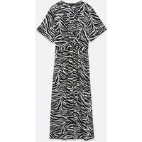 Curves Black Zebra Print Dip Hem Midi Dress New Look