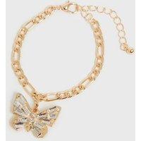 Gold Diamante Butterfly Chain Bracelet New Look