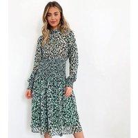 Zibi-London-Green-Abstract-Print-Chiffon-Smock-Midi-Dress-New-Look