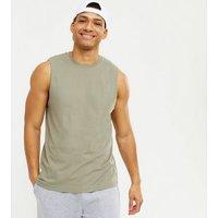Men's Olive Crew Neck Sleeveless Tank Top New Look
