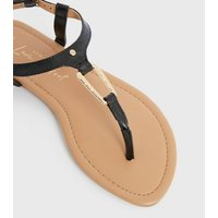 Wide Fit Black Faux Croc Metal Trim Flat Sandals New Look Vegan