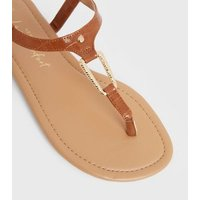 Wide Fit Tan Faux Croc Metal Trim Flat Sandals New Look Vegan