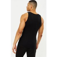 Men's Black Ribbed Jersey Muscle Fit Vest New Look