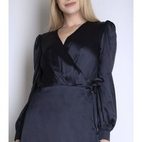 Cutie London Navy Satin Wrap Maxi Dress New Look