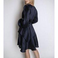 Cutie London Navy Satin Ruffle Wrap Mini Dress New Look