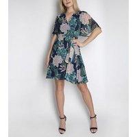 Cutie London Blue Floral Chiffon Wrap Dress New Look