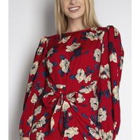 Cutie London Red Floral Knot Front Dress New Look