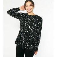 Black Spot Peplum Long Sleeve Top New Look