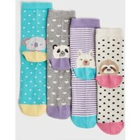 4 Pack Multicoloured Animal and Spot Socks New Look